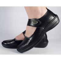 Pantofi platforma perforati negri piele naturala (cod B739904)