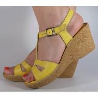Sandale galbene platforma piele naturala dama/dame/femei (cod 3045-5)