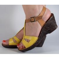 Sandale galben maro platforma piele naturala dama/dame/femei (cod 3045-5)