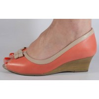 Pantofi platforma peeptoe roz cu crem piele naturala dama/dame/femei (cod 1692435)