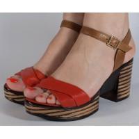 Sandale rosii piele naturala dama/dame/femei (cod 2027-3)