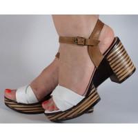 Sandale albe piele naturala dama/dame/femei (cod 2027-3)