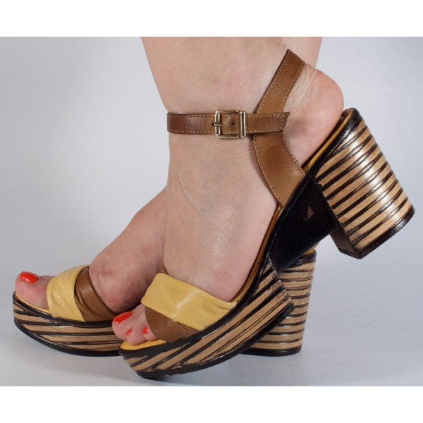 Sandale galbene piele naturala dama/dame/femei (cod 2027-3)