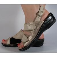 Sandale bej pentru monturi piele naturala dama/dame/femei (cod 4918-16)
