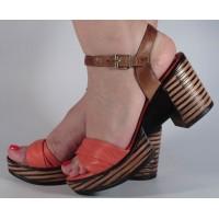 Sandale corai piele naturala dama/dame/femei (cod 2027-3)