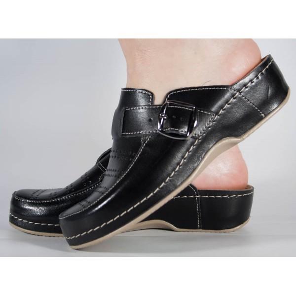 Saboti/Papuci MUBB negri din piele naturala dama/dame/femei (cod 250)