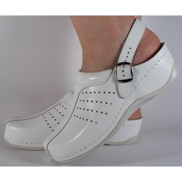 Saboti/Papuci MUBB albi din piele naturala cu talpic detasabil dama/dame/femei (cod 739)