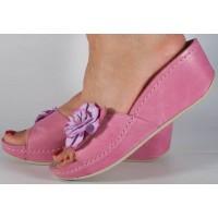 Saboti/Papuci MUBB roz din piele naturala platforma dama/dame/femei (cod 681-3)