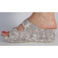 Saboti/Papuci MUBB crem cu gri platforma piele naturala dama/dame/femei (cod 6252)