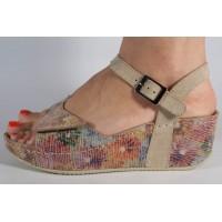 Sandale MUBB platforma bej piele naturala dama/dame/femei (cod 654)