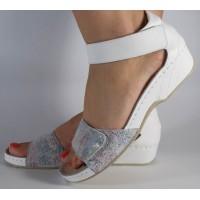Sandale MUBB platforma albe piele naturala dama/dame/femei (cod 201.18)