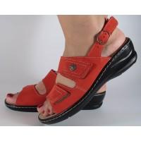 Sandale platforma rosii piele naturala dama/dame/femei (cod 4918-6)