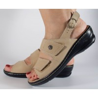 Sandale platforma bej piele naturala dama/dame/femei (cod 4918-6)