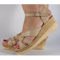 Sandale platforma bej piele naturala dama/dame/femei (cod SS03)
