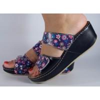 Saboti/Papuci MUBB negru cu flori din piele naturala dama/dame/femei (cod 6680.1)
