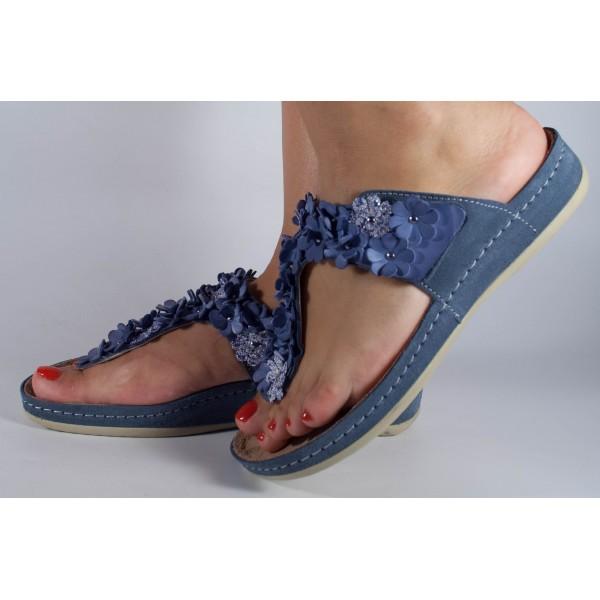 Saboti / Papuci MUBB jeans din piele naturala dama/dame/femei (cod 443)