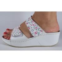 Saboti/Papuci MUBB alb cu flori din piele naturala dama/dame/femei (cod 6680.1)