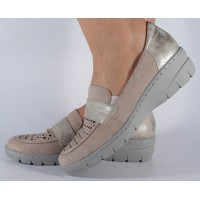 Pantofi bej Reflexan de vara piele naturala dama/dame/femei (cod 31600-26)