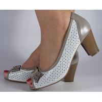 Pantofi perforati alb gri dama/dame/femei (cod 028454)