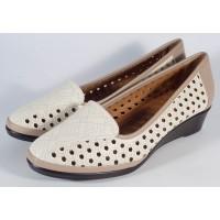 Pantofi platforma bej perforati dama/dame/femei (cod 028522)