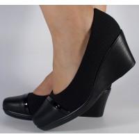 Pantofi negri platforma dama/dame/femei (cod 523009)