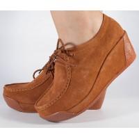 Pantofi maro cu platforma din piele naturala dama/dame/femei (cod 13-12225)