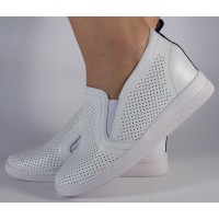 Pantofi platforma albi piele naturala dama/dame/femei (cod 122126)