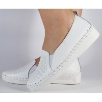 Pantofi platforma albi perforati piele naturala dama/dame/femei (cod 122106)