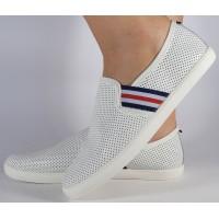 Pantofi albi plani piele naturala dama/dame/femei (cod 16-097160)