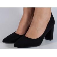 Pantofi office negri cu toc dama/dame/femei (cod WD-53)