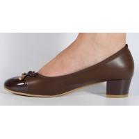 Pantofi office maro cu toc mic dama/dame/femei (cod V-38)