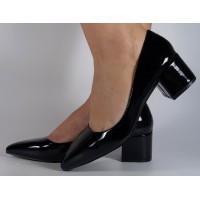 Pantofi office lac negri cu toc dama/dame/femei (cod TS024)