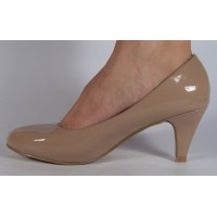 Pantofi office lac bej cu toc dama/dame/femei (cod GY-572)