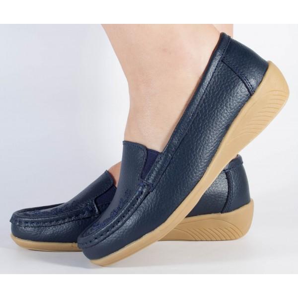 Pantofi platforma bleumarini piele naturala dama/dame/femei (cod B801194)