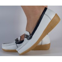 Pantofi albi platfroma piele naturala dama/dame/femei (cod B800794)