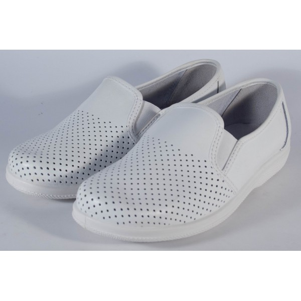 Pantofi albi piele naturala (cod 53-05)
