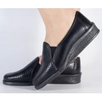 Pantofi platfroma negri piele naturala dama/dame/femei (cod 55-01)
