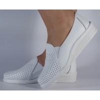 Pantofi platforma albi piele naturala dama/dame/femei (cod 55-01)