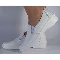 Pantofi platforma albi neperforati din piele naturala dama/dame/femei (cod 02-11)