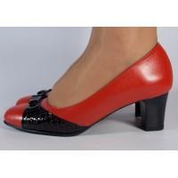 Pantofi office piele naturala rosu cu negru dama/dame/femei (cod 298)