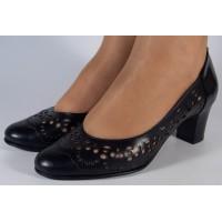 Pantofi office perforati piele naturala dama/dame/femei (cod 470)