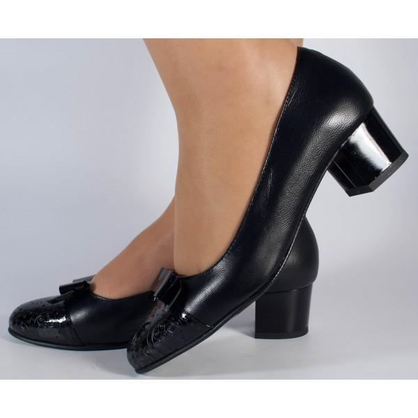 Pantofi office negri piele naturala dama/dame/femei (cod 299)