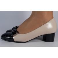 Pantofi office crem negru piele naturala dama/dame/femei (cod 299)