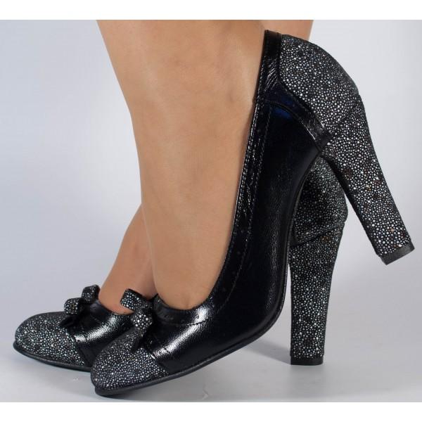 Pantofi office negri piele naturala dama/dame/femei (cod 723)