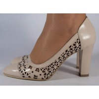 Pantofi roz plamaniu office perforati piele naturala dama/dame/femei (cod 472)