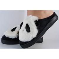 Papuci de casa alb cu negru dama/dame/femei (cod 418001)
