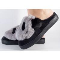 Papuci de casa gri cu negru dama/dame/femei (cod 418001)