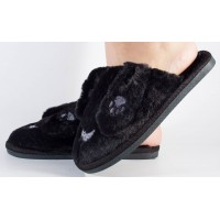 Papuci de casa negri dama/dame/femei (cod 418004)