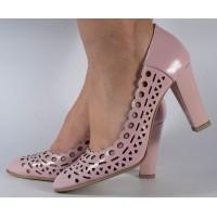 Pantofi office roz piele naturala perforati dama/dame/femei (cod 469)