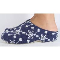 Papuci de casa MUBB bleumarin cu alb din lana damaz/dame/femei (cod 285-4-18)